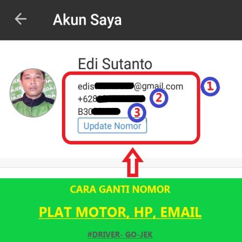 Ganti nomor plat motor, handphone, email driver gojek