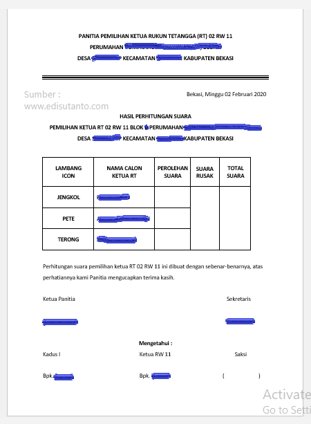 Surat Hasil Perhitungan Suara Pemilihan Ketua RT RW