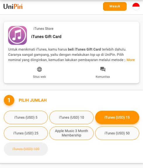 beli iTunes Gift Card